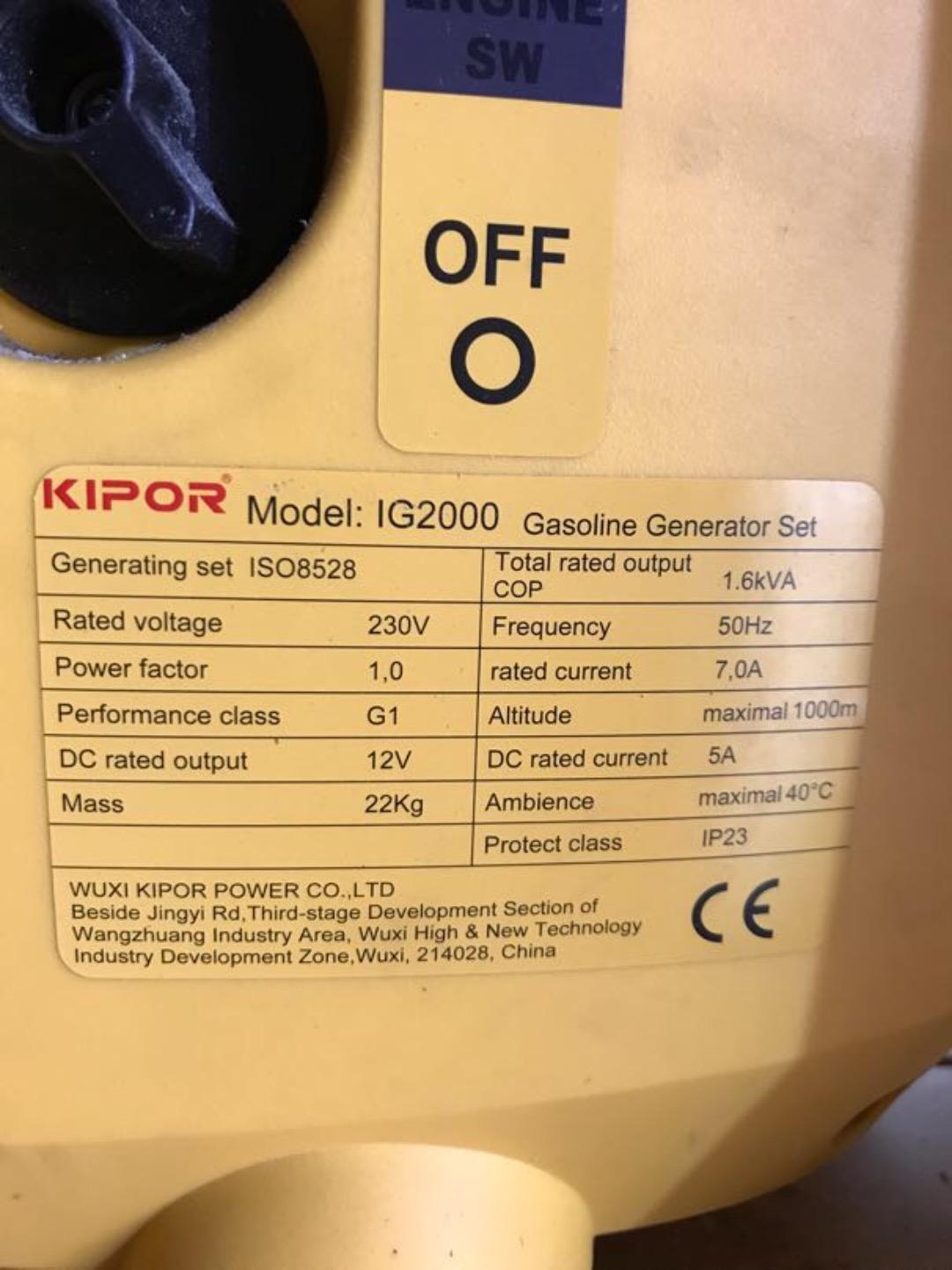 Lei Aggregat Kipor IG2000 bensin av Daniel Storholm H i